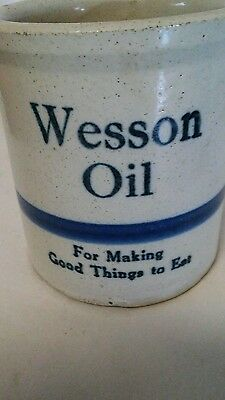 Vintage WESSON OIL Motto Crock Beater Jar Blue Stripe Stoneware