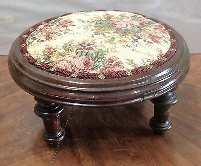 Antique Round Footstool Foot Rest / Stool Rose Floral Fabric Refurbished