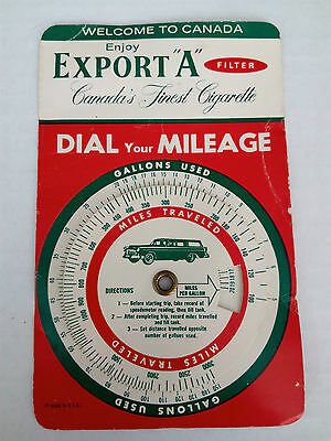 Vintage Export A Dial Your Mileage Welcome to Canada Card 1950s Tobacco Ad