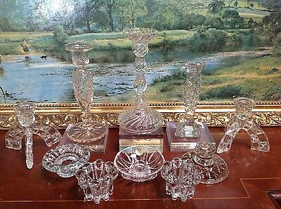10 Vintage Cut Press Glass Candlesticks Wedding Table Florist Job Lot 3cm-22cm
