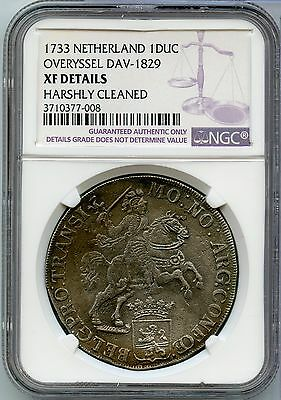 1733 Netherlands Silver Ducatoon Overyssel Dav-1829 NGC XF Details Coin - JV915