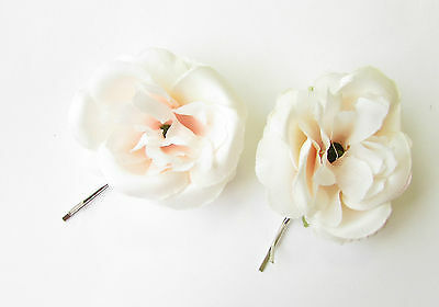 2 x Blush Light Pale Pink Rose Flower Hair Grips Clips Bobby Pins Slides 2163