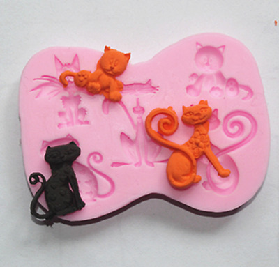 5 cats Silicone Icing Mould Baking Chocolate Cake Topping Sugar craft Mother