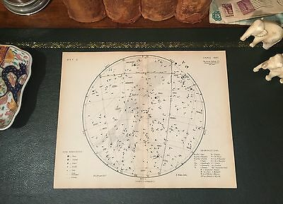 Original 1880 Antique Proctor Astronomy STAR CONSTELLATION Map Virgo Leo Gemini