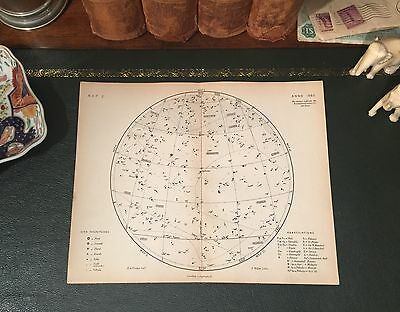 Original 1880 Antique Astronomy STAR CONSTELLATION Map Aries Pisces Aquarius