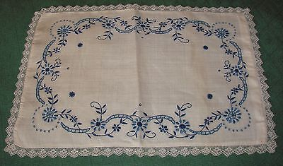 Antique Embroidered w/ Lace Trim Rice Linen Pillow Cover - Blue and White
