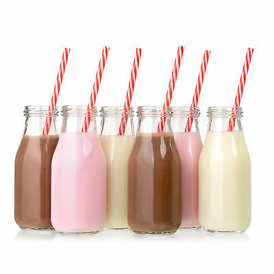 12pk Glass Milk Bottles with Reusable Lids & Retro Straws 11 oz