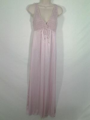 Vintage Kayser Beautiful Pink Nylon Long Nightgown Lingerie Size L Made In USA
