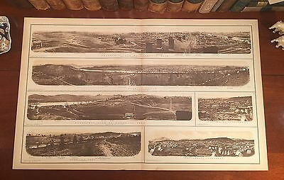 Original Civil War Panoramic Map Tennessee KNOXVILLE CHATTANOOGA Tennessee