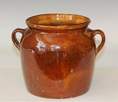 Antique Vintage RedWare Country Confit Pot Jar Southern French Vase Provence
