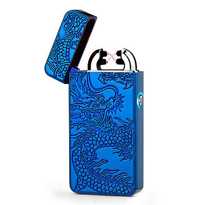 USB Electric Rechargeable Dual ARC Flameless Windproof Plasma Lighter Blue