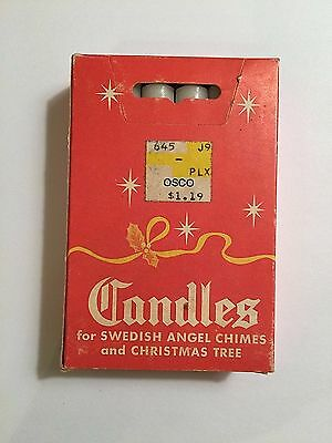 Unused VINTAGE Box 12 White Candles for SWEDISH ANGEL CHIMES AND CHRISTMAS TREE