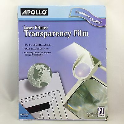 """Apollo Transparency Film Letter 8.50"""" X 11"""" Transparent Overhead Projector 50 ct"""