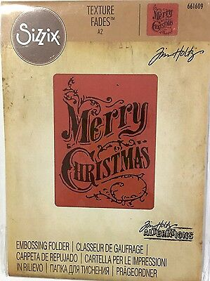 Tim Holtz Alterations Texture Fades Embossing Folder ~Merry Christmas Code661609