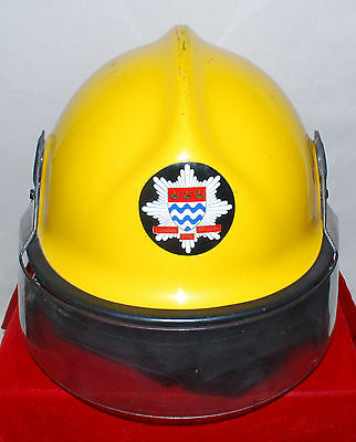 Vintage Pacific Fire Helmet - Yellow London England Fire Brigade