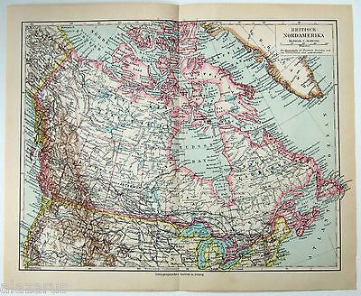 Original 1924 German Map of British North America by Meyers