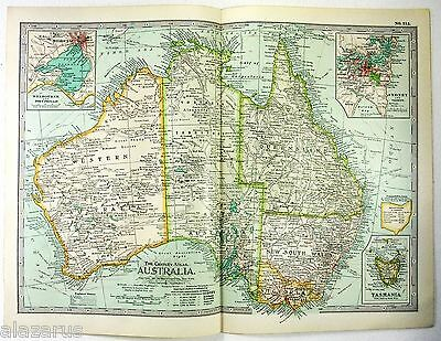 Original 1897 Map of Australia by The Century Company