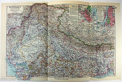 Original 1928 German Map of Northern India by Meyers