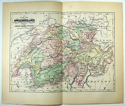 Original 1896 Copper-Plate Map of Switzerland by A. J. Johnson