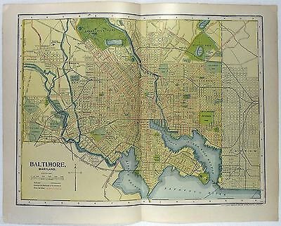 Original 1907 Dated Map of Baltimore, MD by Dodd Mead & Company
