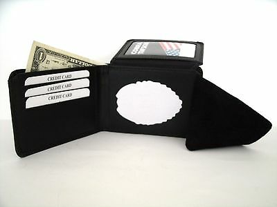 USMC MP Badge Wallet ID Credit Card Money Recessed Cut Out Leather Bi-Fold