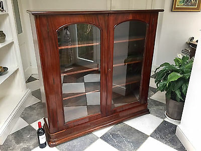 Large Good Quality Antique Victorian Mahogany Glazed Bookcase