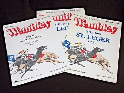 1984 Blue Riband And 2 x 1984 St Leger Greyhound Racecards @ Now Only 99p Each