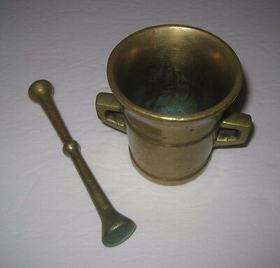 Vtg Solid Brass Mortar and Pestle Apothecary Pharmacist Medicine