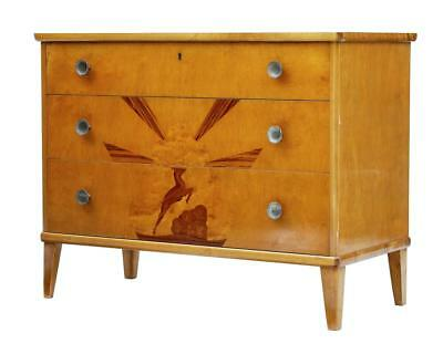 Later Deco Swedish Birch Inlaid Chest Of Drawers