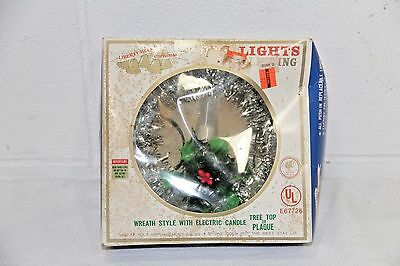 VINTAGE TINSEL CANDLE TREE Flashing/Blinking Wreath Christmas Topper Plaque NOS