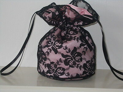 Black lace and soft pink dolly bag Bridesmaid / eveningwear / prom/ Goth