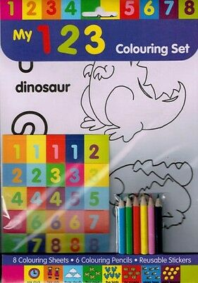 Learn the 123 Colouring Set: Stickers, 6 pencils, 8 printed couring sheets