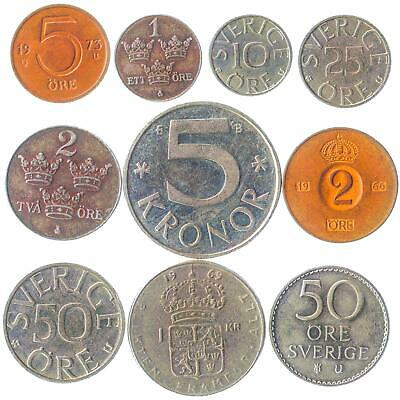 Lot of 20 Sweden Coins Ore Krona Kronor 1950-Now