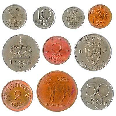 Lot of 15 Norway Coins Ore Kroner 1958-Now