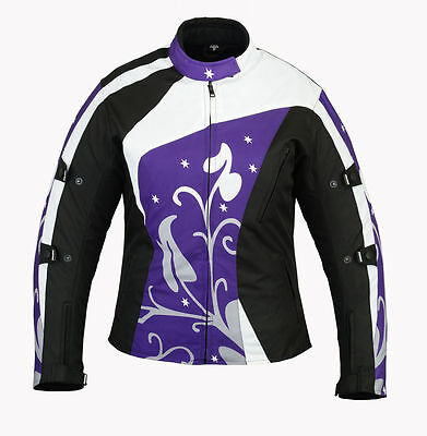 Women Motorbike Purple Jacket Ladies Motorcycle Cordura Waterproof Armour Jacket