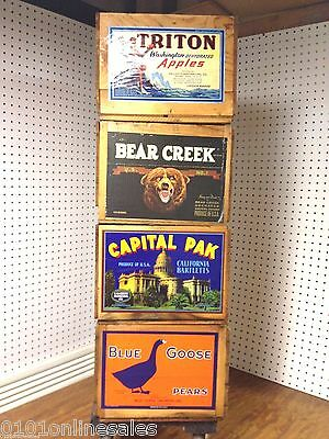 ~4 Amazing Condition!~ 90 Year-Old California,OR&WA Fruit Labels on Wood Crates~