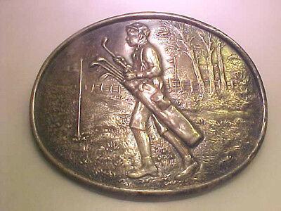 Large Detailed Antique Golf Pin with Caddie / Golfer, Club & Flags