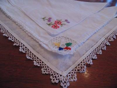 three vintage ladies hankies, crocheted, emb. and tatting