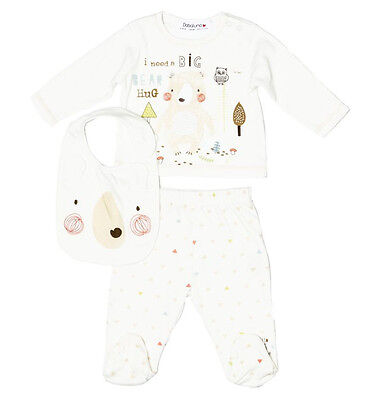 Unisex Baby Boys Girls 3 Piece Outfit - Bib, Top & Pants Newborn or 0-3 Months