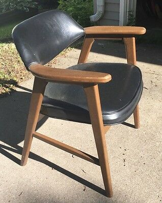 Pair Vintage Mid Century Modern Black Paoli Chair Solid Wood Arm Chairs
