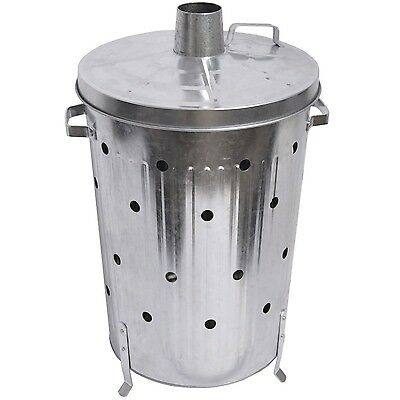 Home Discount 75L Litre Incinerator Galvanised Metal Garden Fire Bin Dustbin ...