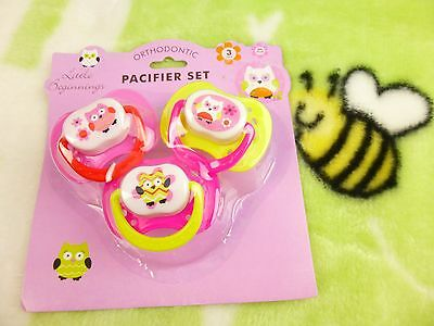 Little Beginnings Pacifier Set Pink And Yellow With Owl Theme BPA Free