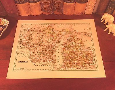 Original 1893 Antique Map MICHIGAN Detroit Grand Rapids Lansing Ann Arbor MI