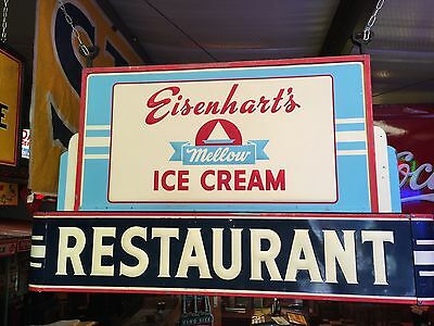 VINTAGE 50s EISENHARTS ICE CREAM RESTAURANT DAIRY SIGN SUPER COLLECTABLE RARE!