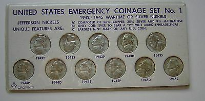 Silver War Nickels  1942 - 1945 Pds Jefferson  Set Bu  /  Uncirculated Case