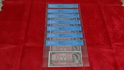 1954 Bank of Canada Notes. Lot of 7 Certified Canadian Banknotes.  CCCS graded