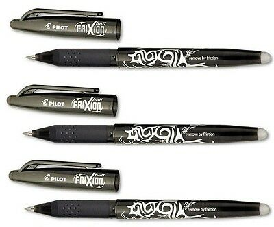 Pilot FriXion Ball Erasable Gel Pens Fine Point, 3-Pack Black Ink #31556 New