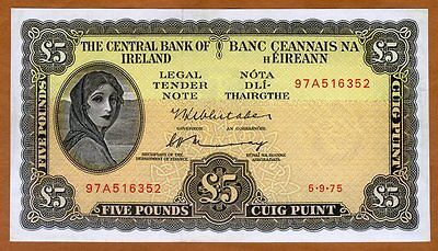 Ireland Republic, 5 pounds, 1975, P-65 (65c), UNC