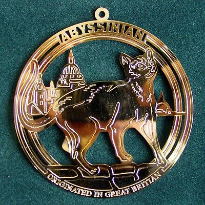 Gold Plated Abyssinian Cat Ornament
