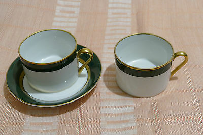 Fitz and Floyd Renaissance dark green gold pieces 3 cups 2 saucers Japan Exclnt